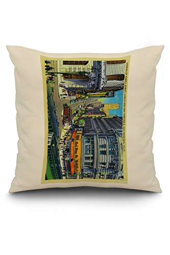 Powell Street with Cable Cars and Turntable (20x20 Spun Polyester Pillow, White Border)