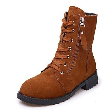 RTRY Women'S Shoes Pu Fall Winter Combat Boots Boots Low Heel Round Toe Mid-Calf Boots Lace-Up For Casual Light Brown Black US6 / EU36 / UK4 / CN36 JJl2rjiPJb