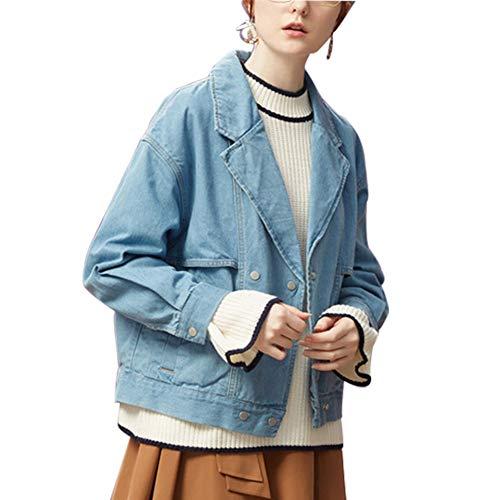 Mujeres Chicas Vintage Nuevo Equipado Jeans Algodón Mezclilla De Corta Suelto 100 Chaqueta Denim Lightblue Jacket EwYY5R