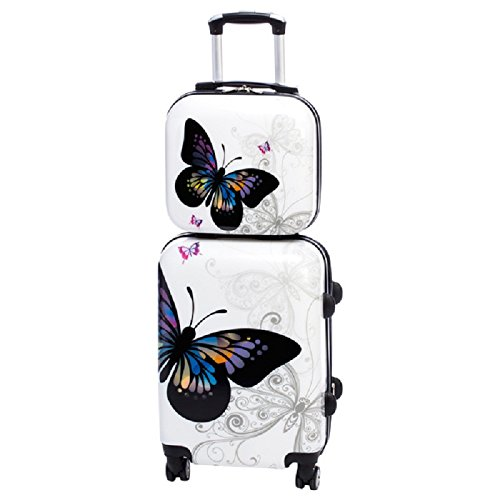 Colorful Butterfly Print Travel Luggage 2-Piece Set, Signature Pattern, Stylish, Fashionable, Lightweight, Hard side, Hard shell, Handle, Hardsided, Upright Rolling Carry On Suitcase, For Girls/Kids by S & E