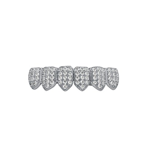 (Hip Hop Bling Iced Out Yellow or White Gold-Tone Lab Cubic Zirconia Kevin Gates Bottom Custom Grillz Grill with Mold Bar (White-Gold-Tone))