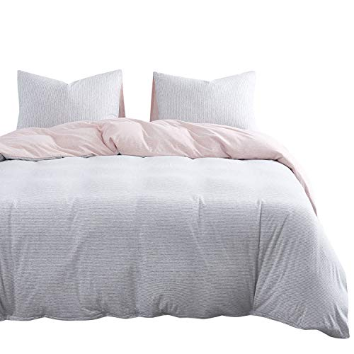 Wake In Cloud - Jersey Cotton Duvet Cover Set, Gray Grey Striped Stripes, Light Pink Color on Reverse, Comfy Soft Bedding with Zipper Closure (3pcs, Queen Size)