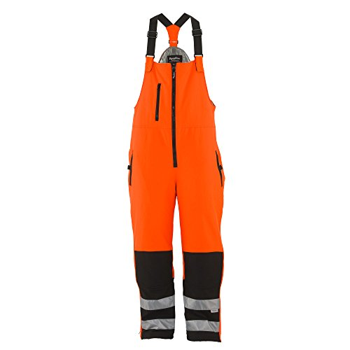 Refrigiwear Men's HiVis Insulated Softshell Bib Overalls - ANSI Class E High Visibility Orange with Reflective Tape Large