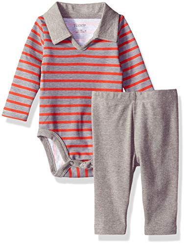 Hanes Ultimate Baby Flexy 2 Piece Set (Pant with Long Sleeve Polo Bodysuit), Red/Grey Stripe, 12-18M