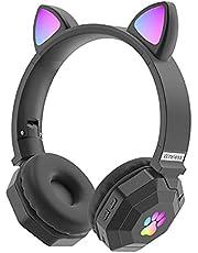 FDKJOK Draadloze Gaming Headset Kids Volwassenen Oplaadbare RGB Licht Kat Oor Bluetooth 5.0 (Zwart)