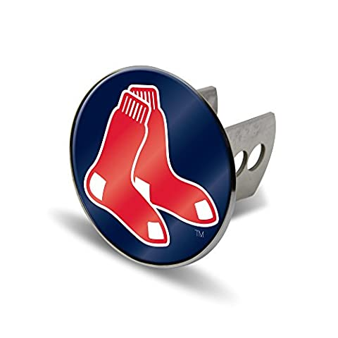 MLB Boston Red Sox Laser Cut Metal Hitch Cover, Large, Silver - Sox Metal
