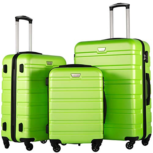 Suitcase Green (Coolife Luggage 3 Piece Set Suitcase Spinner Hardshell Lightweight (Apple green2))
