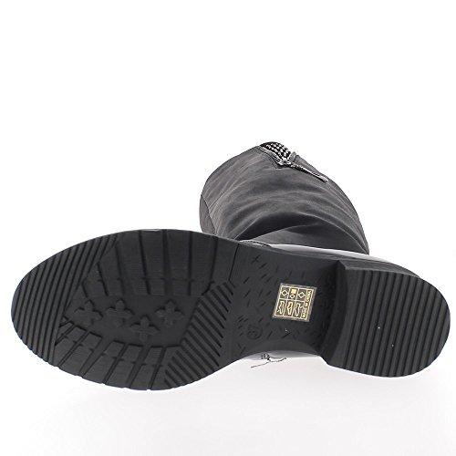Bridleways nero stivali con tacco 3,5 cm restituito in pelle e gomma