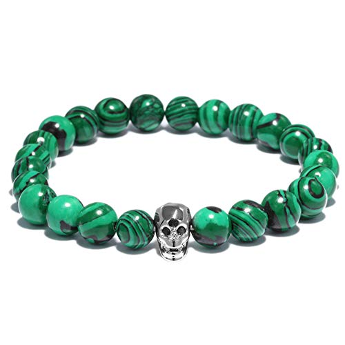 lightclub Green Fashion Women Men Faux Malachite Skeleton Beads Bracelet Bangle Party Club Silver -