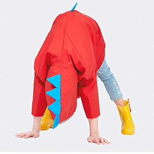 SSAWcasa Rain Poncho for Kids with Hood,Children Dinosaur Raincoat,Portable Reusable Toddler Rainwear with Storage Pouch,Lightweight Waterproof Rain Coat,Jacket for Baby Boys and Girls (L, Red) by SSAWcasa (Image #5)