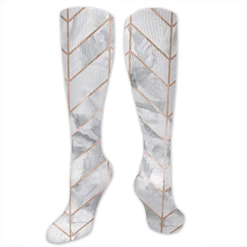 KIzOTY Marble Herringbone Rose Gold Gilt Design Compression Socks Knee High Socks Training Socks Soccer Socks for Men & Women - Best Sports Socks for Running,Nurses,Sports,Flight Travel
