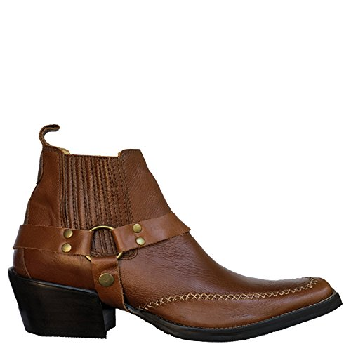 Brunello's Men's Genuine Leather Snip Toe Western Boot- Low Cut Florence Atlanta Whiskey by Taben Western Products Inc