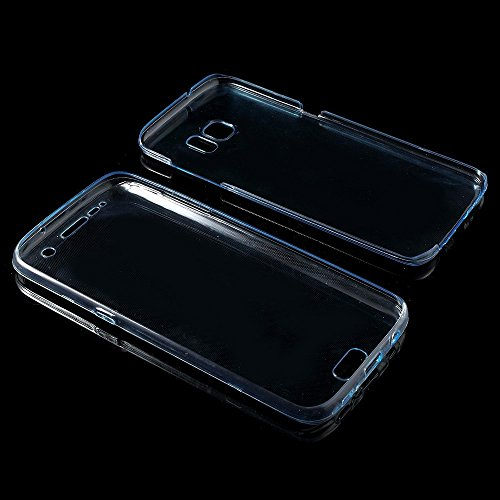 könig-shop FULL carcasa TPU Funda Protectora Cubierta Del Teléfono 360 Samsung Galaxy S7 EDGE - Arco Iris Amarillo / blau Azul