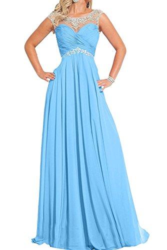 Blau Abendkleider Damen Braut Ballkleider Langes Pfirsisch mia Festlichkleider Partykleider Chiffon Formalkleider La x6wgBqx