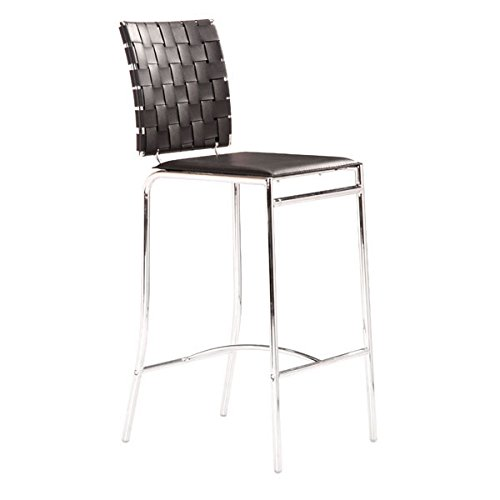 Zuo Criss Cross Counter Chair, Black (Set of 2)