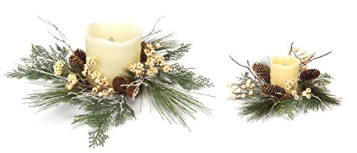 (Pack of 2 Decorative Artificial Mixed Pine and Beige Berries Christmas Candle Rings 12