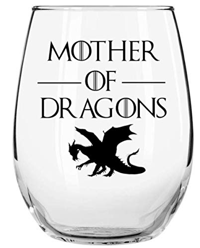 Mother of Dragons 15oz Libbey Stemless Wine Glass by Momstir - Game of Thrones Queen Daenerys Stormborn of House Targaryen Inspired - Gifts for Her, Gifts for Friends and Coworkers