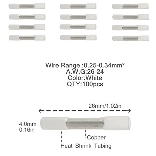 Iztoss 100pcs 26-24AWG Insulated Heat Shrink Butt Wire Electrical Crimp Terminal Connector white by IZTOSS (Image #2)
