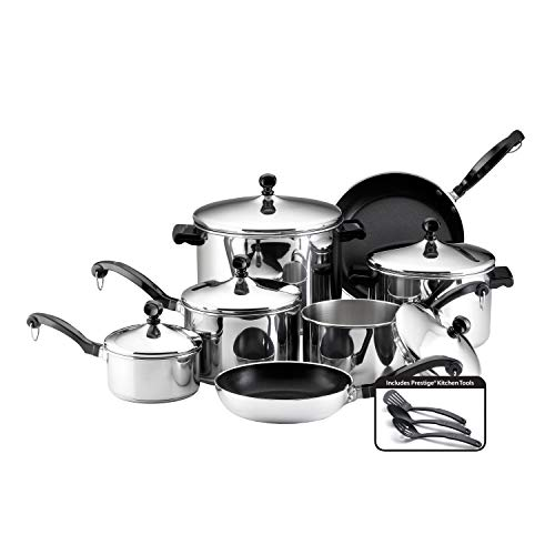 Farberware 50049 Stainless Steel Cookware Set, 15-Piece