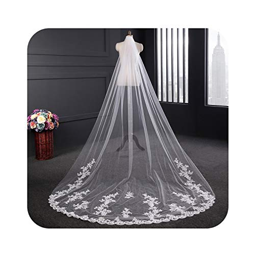 3 Meter Long White Ivory Wedding Veils Lace Edge Bridal Veil with Comb Wedding Accessories Bride Chapel Veils In Stock,Ivory,300cm