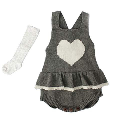 a215a7331 Askwind Baby Girls Knit Striped Polka Dot Romper Cute Strap ...