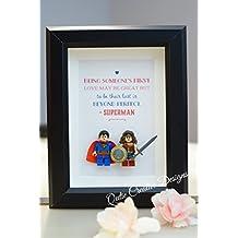 Lego minifigure style framed art Superhero Superman Wonder Women for daddy birthday xmas anniversary gift