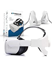 Halo VR Oculus Quest 2 Compatible Elite Head Strap Kit - Set with 1 Adjustable Head Strap, 2 Knuckle Controller Straps, 2 Anti-Drop Wristbands - Comfortable Stable Virtual Reality Headstrap Support