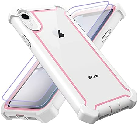 KSELF Case for iPhone XR Case with [2 Pack] Tempered Glass Screen Protector, Full Body Protective Hybrid Dual Layer Shockproof Acrylic Back Case Cover for Apple iPhone XR 6.1 inch (White Pink)