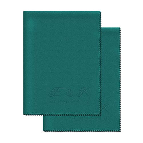 Extra Large Microfiber Cleaning Cloth - Double Pack Extremely Soft Glasses Cleaning Cloths - convinient 11 x 15 inches. Can be Used Without Liquid Glasses Cleaner (Teal)