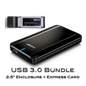 "BACK TO SCHOOL SALES! Super Speed USB3.0 Bundle Akitio FD2500U3 2.5"" Slim Light Portable Hard Drive Enclosure + Express Card"