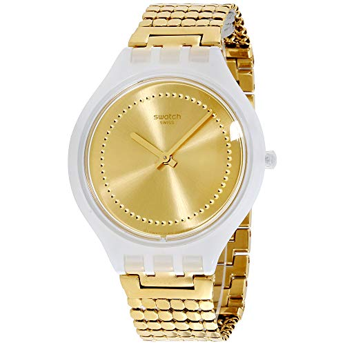 Swatch Skinglance Yellow Dial Stainless Steel Unisex Watch SVOW104GB (Womens Yellow Dial)