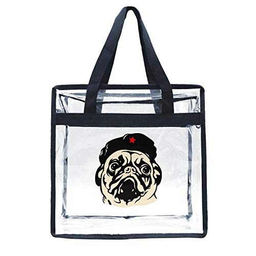 Eoyles gy Clear Bag Stadium Approved 12 x 6 x 12 Crossbody Transparent Purse Shoulder Handbag for Men Women Obey The Pug Che Guevaras Zippered Security Bag
