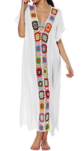 - ENLACHIC Women Bathing Suits Cover Up Ethnic Print Kaftan Beach Maxi Dress,White V,One Size