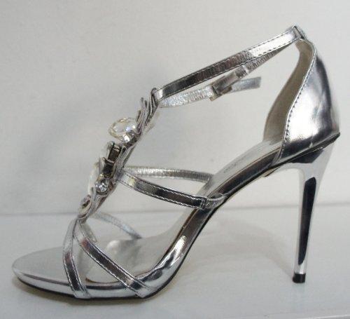 Silver Metallic Jewelled Stiletto Sandal F1768 FBJnEAR