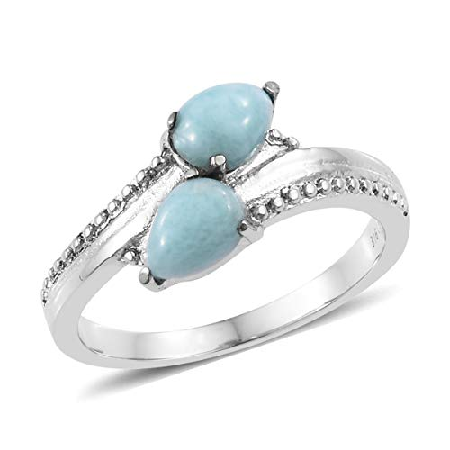 Shop LC Delivering Joy Statement Ring Stainless Steel Pear Larimar Jewelry for Women Size 8
