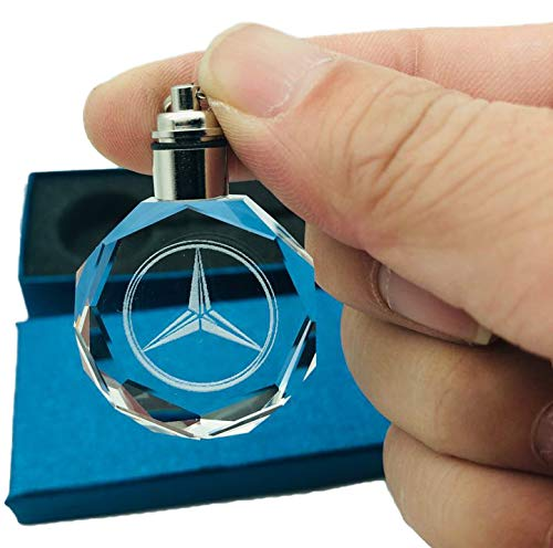 (Mercedes) Keychain with Logo on Crystal and LED Light - FOB Key Ring holder Chain Valet - For Men and Women as automotive gift and accessories - llavero Emblem - Preferred over carabiner and lanyard