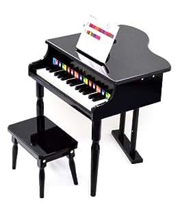 ts-ideen - Piano de cola de juguete con banco (30 teclas, a partir de 3 años, con identificación de las notas por colores y libreto de canciones)