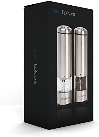 Latent Epicure Battery Operated Salt and Pepper Grinder Set (Pack of two Mills) - Complimentary Mill Rest | Bright Light | Adjustable Coarseness |
