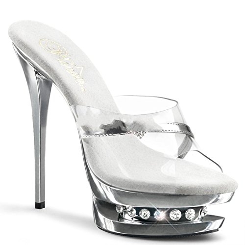 Pleaser - Sandalias de vestir para mujer Silber Chrom