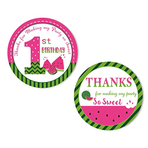 KREATWOW Watermelon Thank You Sticker Labels Watermelon Stickers for Party Favors Envelope Girls 1st Birthday Party Supplies 48 Pack