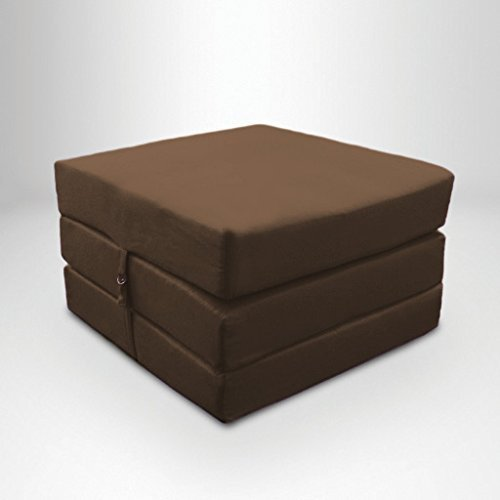 Brown Water Resistant Fold Out Z Bed Cube Mattress with Fastening Ready Steady Bed