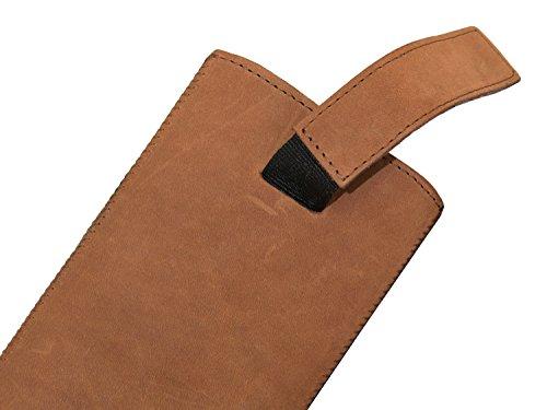 OrLine Premium Echt Leder Case Lederetui für Apple Iphone 5 Schutzhülle | Handytasche | Ledertasche | Hülle | Tasche | Cover | Case Etui Echt Leder Slim Case Tasche mit Klettverschluss und Pull-up Str