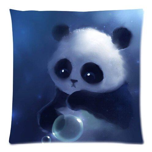 Triste niña pintura de oso panda funda para cojín ...