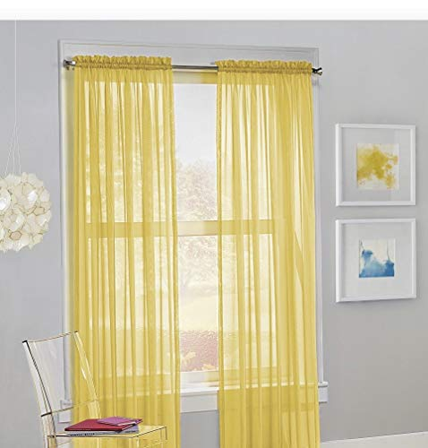 Jasmine Linen 2PC Sheer Luxury Curtain Panel Set for Kitchen/Bedroom 84