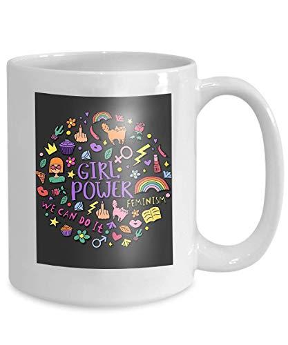 mug coffee tea cup girly doodles hand drawn phrases feminism concept design girl s print girly doodles hand drawn phrases 110z ()