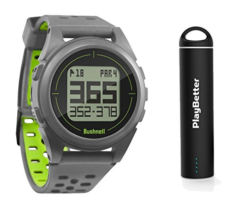 Bushnell iON 2 Golf GPS Watch Bundle | with PlayBetter Portable USB Charger | Simple, Intuitive Golf GPS Watch | 36,000+ Worldwide Courses | 2018 Version (Silver/Yellow) (Bushnell Neo Gps Watch)