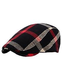 Plaid Newboy Cap Cotton Beret Ivy Hat Cabbie