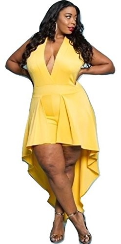 L'Diva Couture Boutique Women's Sexy Romper Plus Size (Yellow, 1X) Diva Jumpsuit