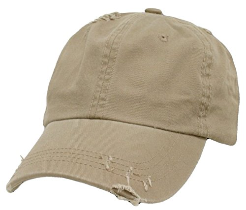 (Decky Distressed Vintage Polo Style Unstructured Low Profile Adjustable Baseball Cap (One Size, Khaki Tan) One Size)