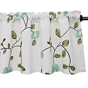 "VOGOL Floral Embroidered Kitchen Valances for Windows Linen Valances for Living Room Rod Pocket Valance Curtains for Small Windows, (52""Wx18""L, Blue Floral, One Panel)"